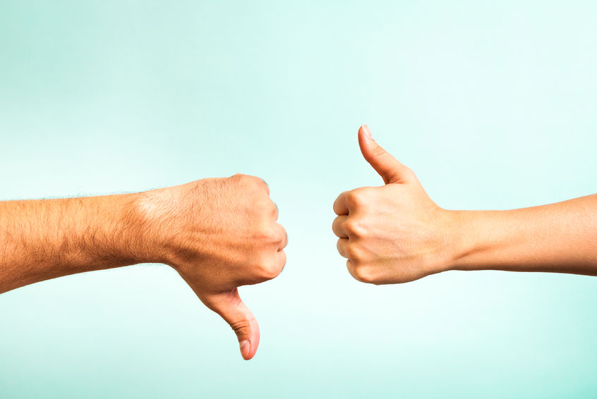 thumbs up and thumbs down difference between productive and unproductive stress