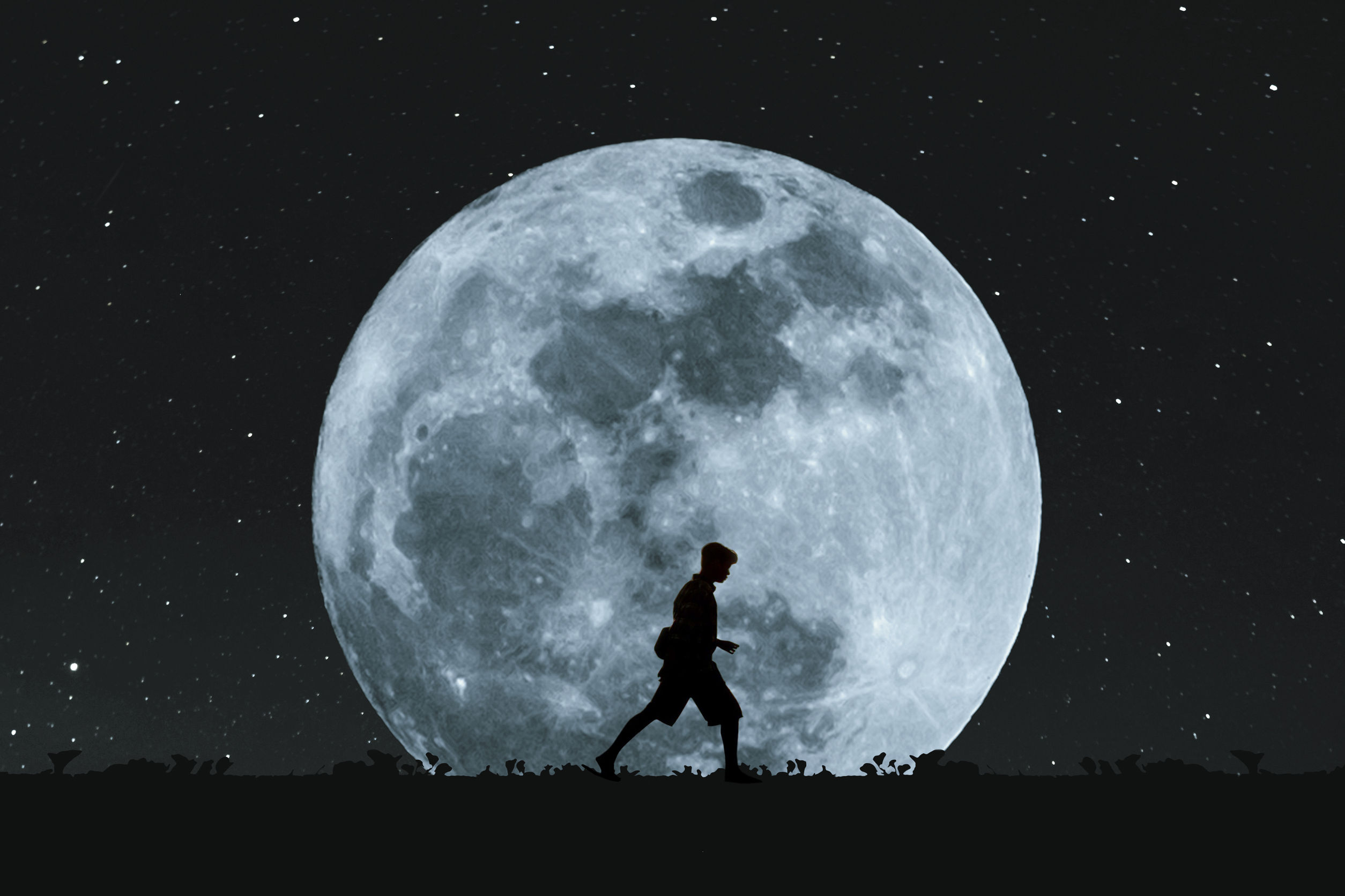 white moon on night sky walking towards better wellbeing
