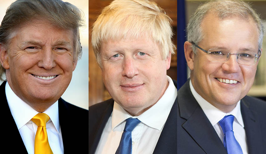 Donald Trump, Boris Johnson, Scott Morrison